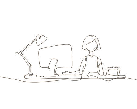 Girl at the computer - one line design style illustration Illustration