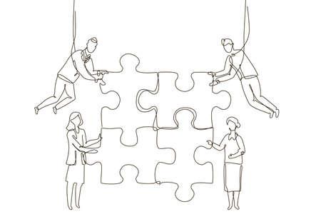 Équipe commerciale faisant un puzzle - illustration de style de conception en une ligne Vecteurs