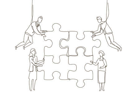Business team doing a puzzle - one line design style illustration Stock Vector - 102927627