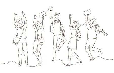 Happy students - one line design style illustration