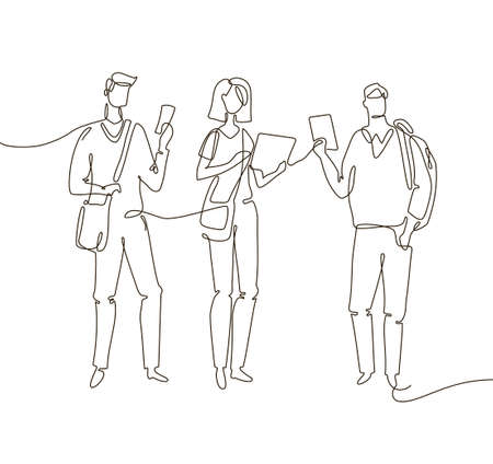 Students - one line design style illustration Illustration