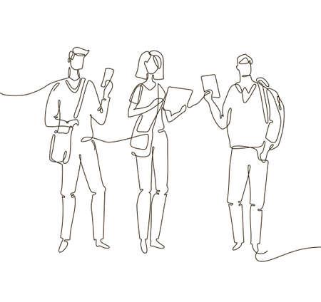 Students - one line design style illustration Ilustração