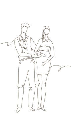 Happy couple expecting a child - one line design style illustration