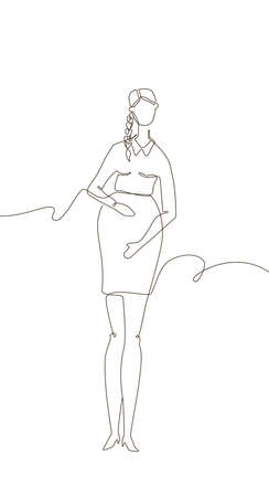 Young woman expecting a child - one line design style illustration