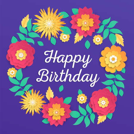 Happy birthday - modern vector colorful illustration