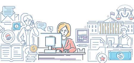 Bureau des impôts - illustration de style de conception de ligne moderne