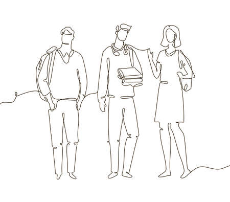 Groupmates - one line design style illustration