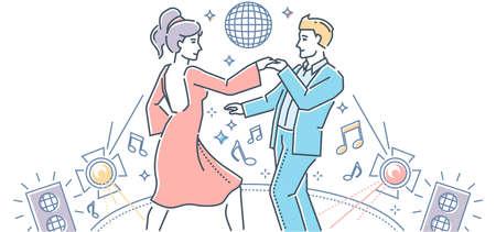 Partner dance - modern line design style illustration Stock Illustratie