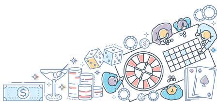 Casino - modern line design style colorful illustration