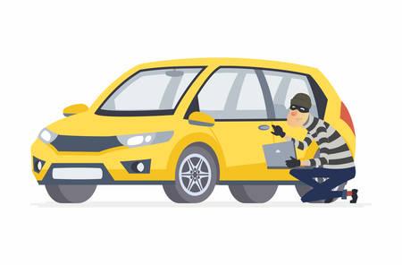 Ladro di auto - illustrazione di personaggi dei cartoni animati persone isolato su priorità bassa bianca. Composizione di alta qualità con un hacker seduto alla portiera dell'auto con un laptop che cerca di rompere il sistema di protezione