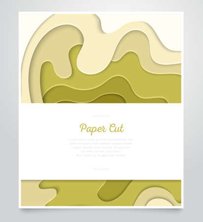 Abstract green layout - vector paper cut banner Stock Illustratie