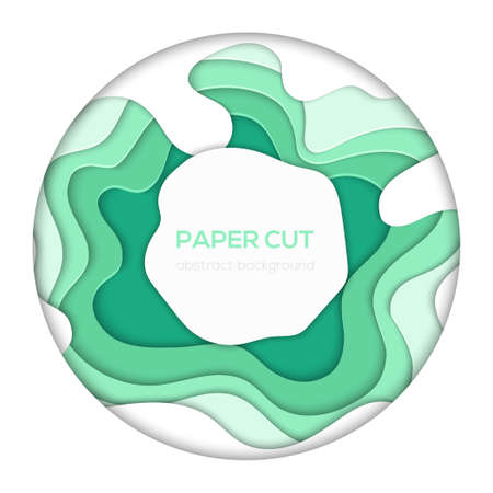 Green abstract layout - vector paper cut banner 向量圖像