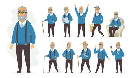 Senior man - vector cartoon people character set