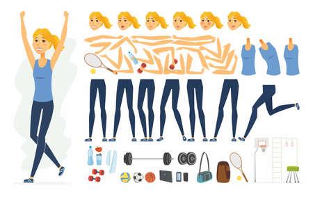 Sportswoman - vector cartoon people character constructor