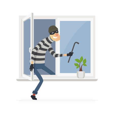 Burglar - cartoon people characters illustration Ilustração