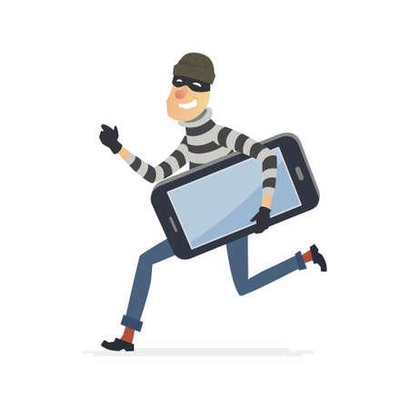 Thief stealing smartphone - cartoon people characters illustration Illustration