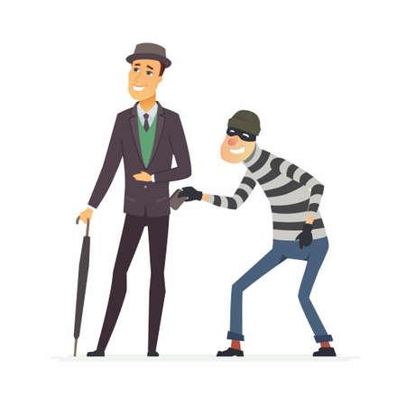 Taschendieb, der Brieftasche stiehlt - Karikatur-Personencharakterillustration