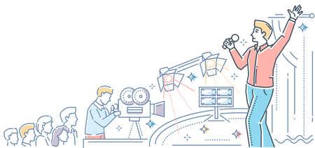 Show business - modern line design style colorful illustration Illustration