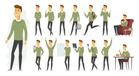 Cute man - vector cartoon people character set
