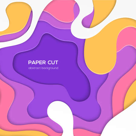Multicolored abstract layout - vector paper cut illustration