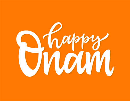 Happy Onam- vector hand drawn brush pen lettering
