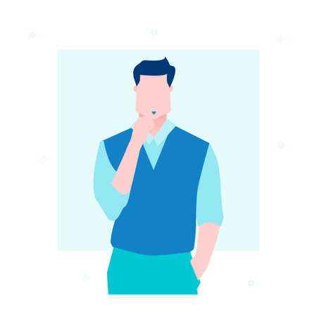 Businessman thinking - flat design style illustration Çizim