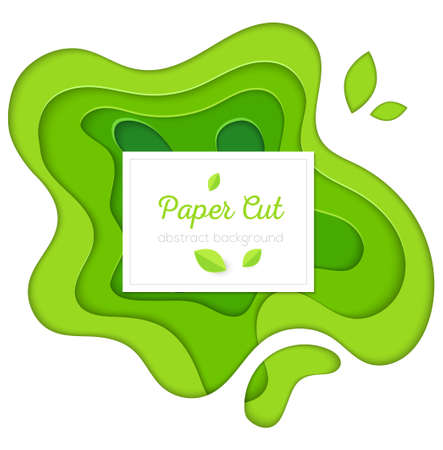 Green abstract poster - vector paper cut illustration