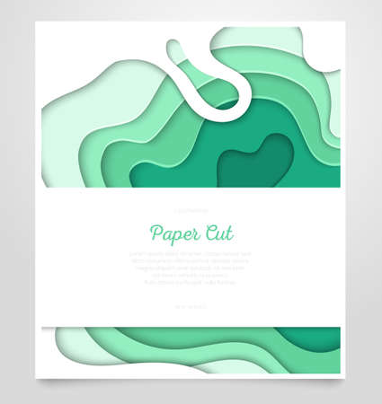 Abstract green layout - vector paper cut banner 写真素材