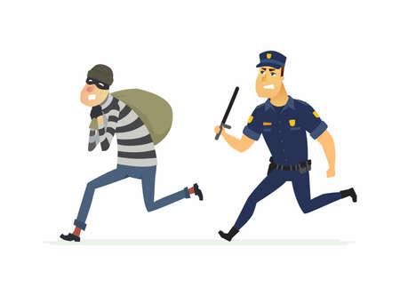 Dief en politieagent - cartoon personen personages illustratie