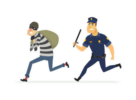 Thief and policeman - cartoon people characters illustration Vectores
