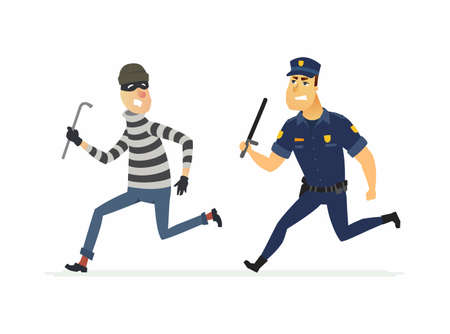 Burglar and policeman - cartoon people characters illustration