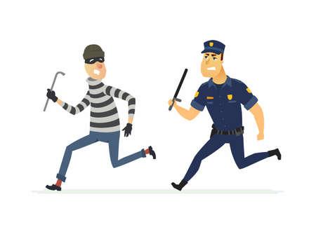 Burglar and policeman - cartoon people characters illustration