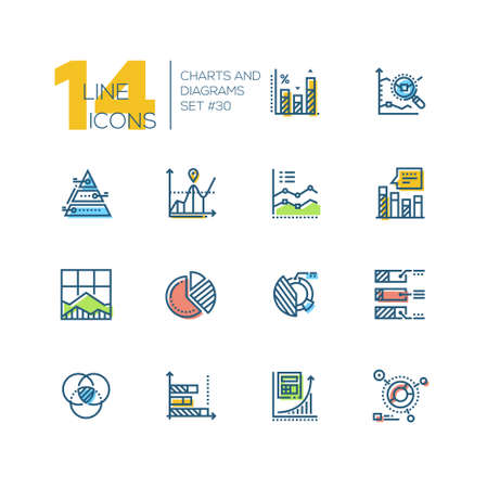 Charts and diagrams - set of line design style icons Illustration