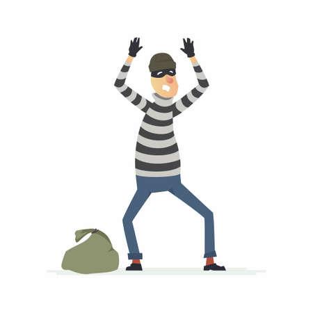 Thief surrendering - cartoon people characters illustration