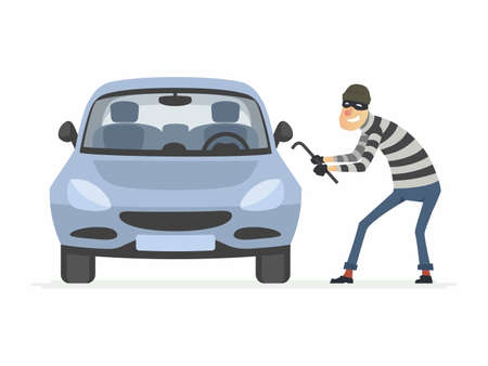 Car thief - cartoon people characters illustration 版權商用圖片 - 103125453