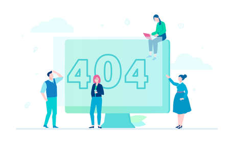 Error 404 page - flat design style colorful illustration Vectores