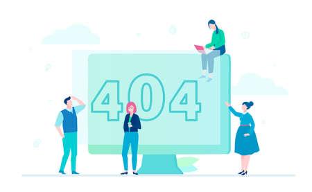 Erreur 404 page - illustration colorée de style design plat