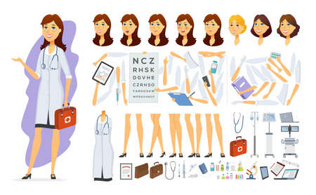 Female doctor - vector cartoon people character constructor