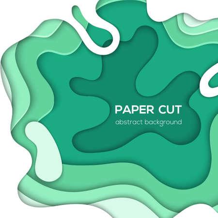 Green abstract layout - vector paper cut illustration Reklamní fotografie - 103125467