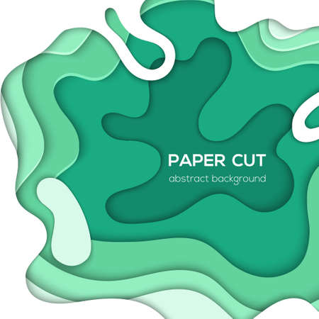 Green abstract layout - vector paper cut illustration