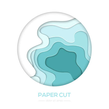 Turquois abstract layout - vector paper cut banner Çizim