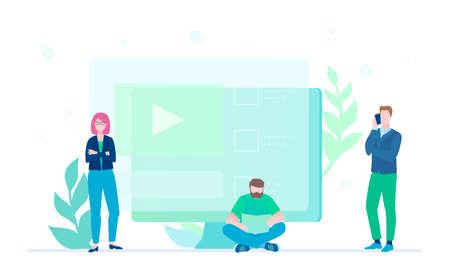 Creative team - flat design style colorful illustration 일러스트