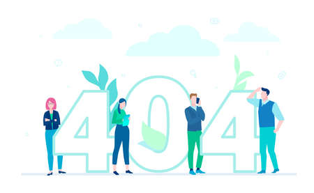Error 404 page - flat design style colorful illustration  イラスト・ベクター素材