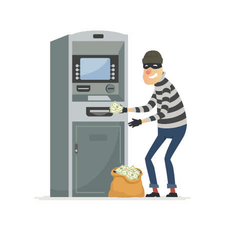 Thief stealing money from ATM- cartoon people characters illustration Illustration