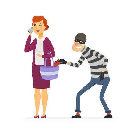 Thief stealing wallet - cartoon people characters illustration Vectores