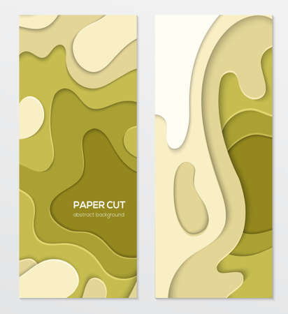 Abstract green banner - set of vector template illustrations on white background with place for your info. Paper cut shapes and olive colors. Two vertical posters of high quality for your business Illusztráció