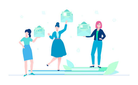 Emails - flat design style colorful illustration on white background. A composition with cute characters, female workers, managers holding envelopes, standing on notebooks. Business correspondence