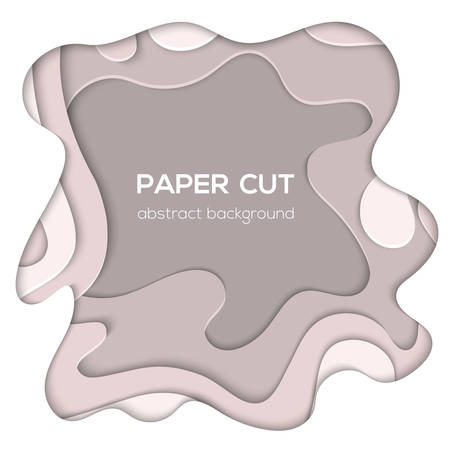 Grey abstract layout - vector paper cut illustration