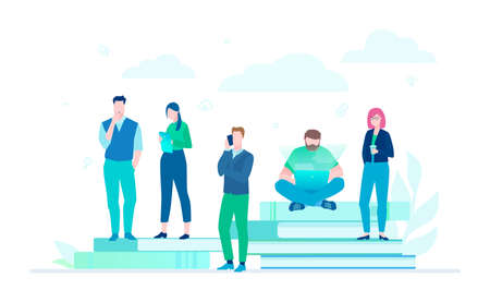 Business colleagues - flat design style colorful illustration