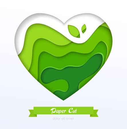 Grass green abstract layout - vector paper cut banner Ilustração